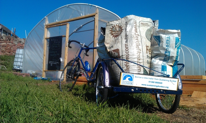 A delivery to the Belhaven Hospital Community Garden of pigeon droppings, using one of Sustaining Dunbar's Trailers