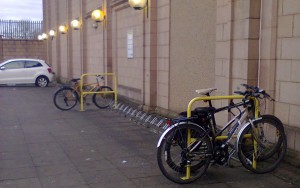 Morrison's rubbish - Portobello. Wheel twisters, resulting in bikes locked to handrails!