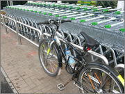 No Bike Parking: risk of damage from trolleys, footway partly blocked by bike