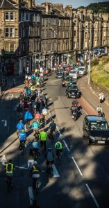 Nearly 200 people cycled in support of the whole route and of option A at Roseburn. Photo: Anthony Robson